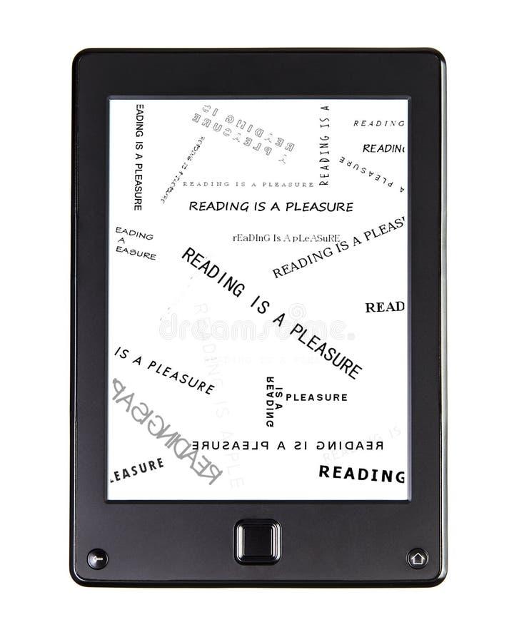 Φορητός αναγνώστης eBook για το βιβλίο και την οθόνη στοκ εικόνα