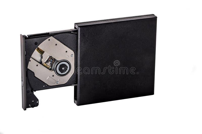 Φορητός λεπτός εξωτερικός συγγραφέας καυστήρων του CD DVD που απομονώνεται στο λευκό στοκ φωτογραφία με δικαίωμα ελεύθερης χρήσης