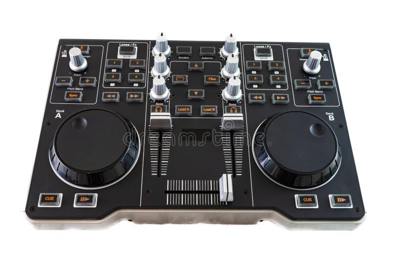 Φορητός μείκτης ελέγχου DJ σε λευκό φόντο στοκ εικόνες
