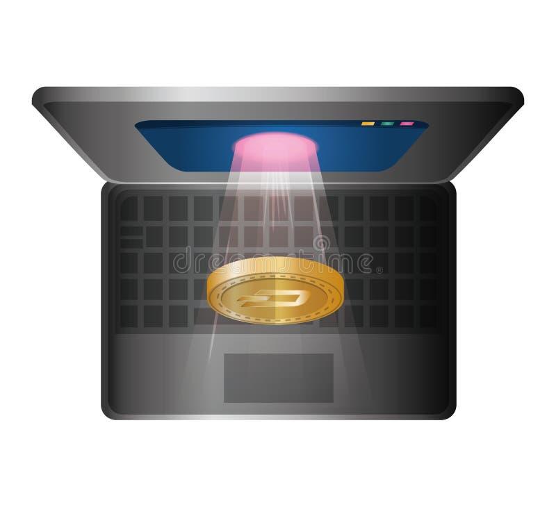 Φορητός προσωπικός υπολογιστής με την εξόρμηση διανυσματική απεικόνιση