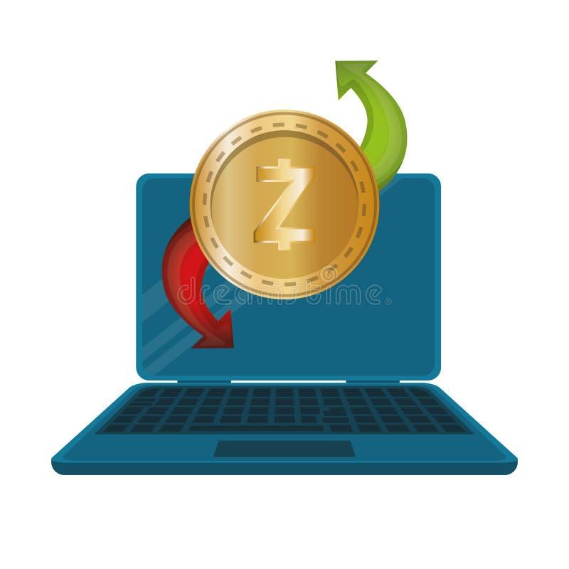 Φορητός προσωπικός υπολογιστής με το zcash απεικόνιση αποθεμάτων