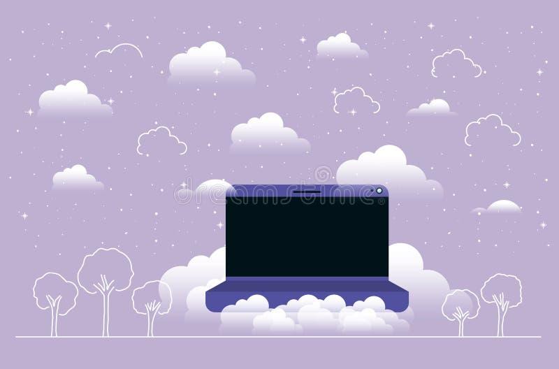 Φορητός προσωπικός υπολογιστής στον ουρανό ελεύθερη απεικόνιση δικαιώματος