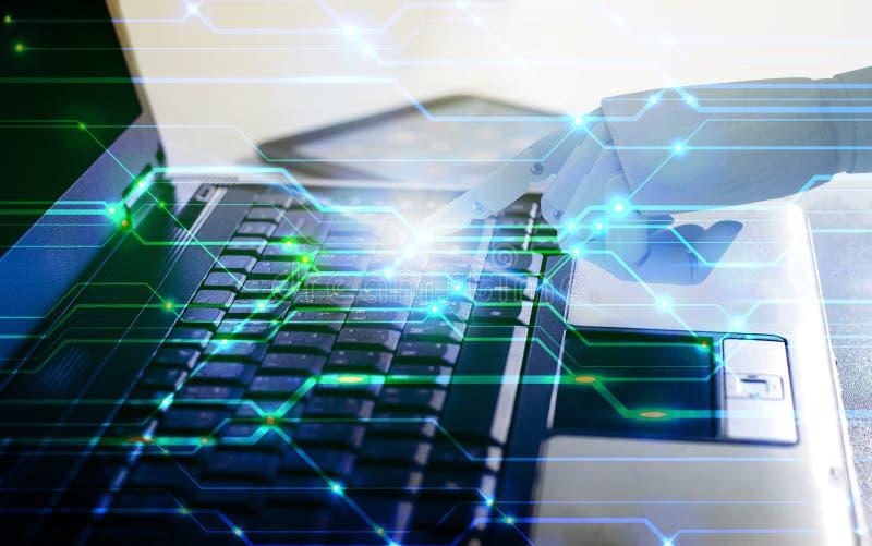 Φορητός προσωπικός υπολογιστής χρήσης χεριών ρομπότ, έννοια τεχνολογίας τεχνητής νοημοσύνης διανυσματική απεικόνιση