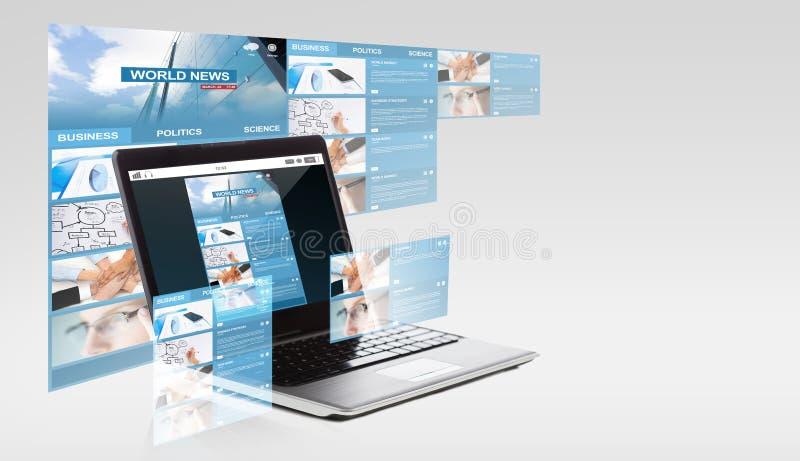 Φορητός προσωπικός υπολογιστής με τις παγκόσμιες ειδήσεις στην οθόνη διανυσματική απεικόνιση