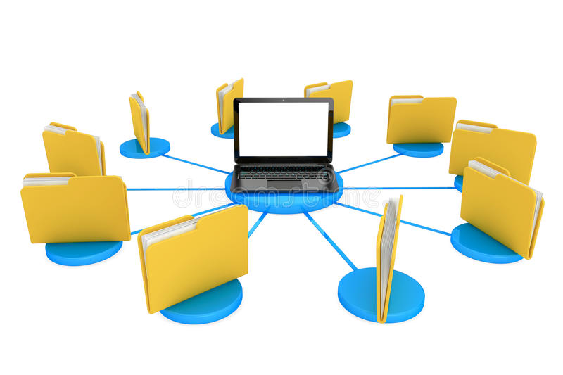 Φορητός προσωπικός υπολογιστής με τους φακέλλους ελεύθερη απεικόνιση δικαιώματος