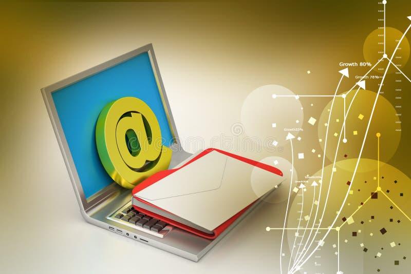 Φορητός προσωπικός υπολογιστής με το ηλεκτρονικό ταχυδρομείο απεικόνιση αποθεμάτων