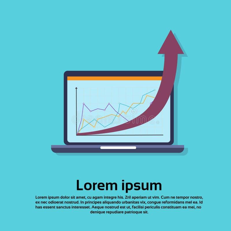 Φορητός προσωπικός υπολογιστής με το οικονομικό βέλος γραφικών παραστάσεων επάνω στην επιτυχία διανυσματική απεικόνιση