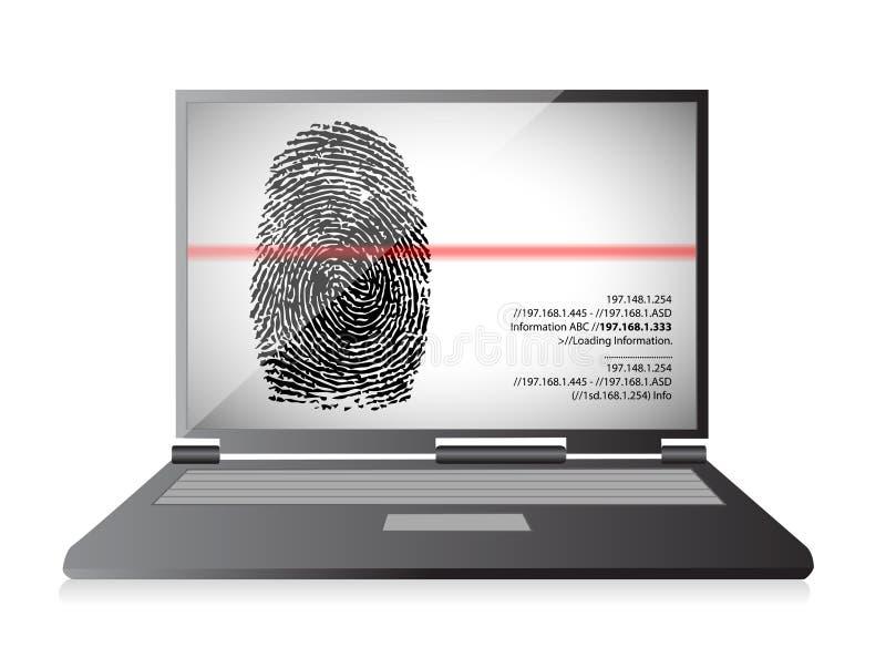 Φορητός προσωπικός υπολογιστής που ανιχνεύει ένα δακτυλικό αποτύπωμα απεικόνιση αποθεμάτων