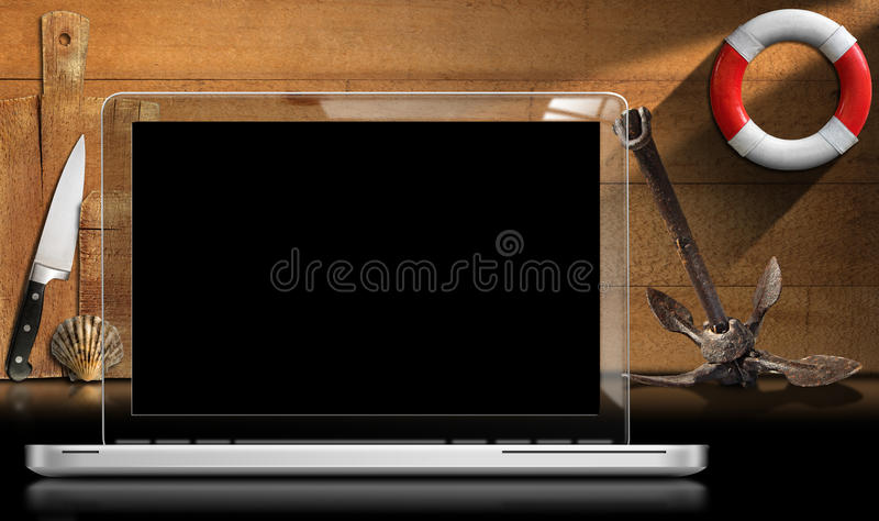 Φορητός προσωπικός υπολογιστής στην κουζίνα απεικόνιση αποθεμάτων