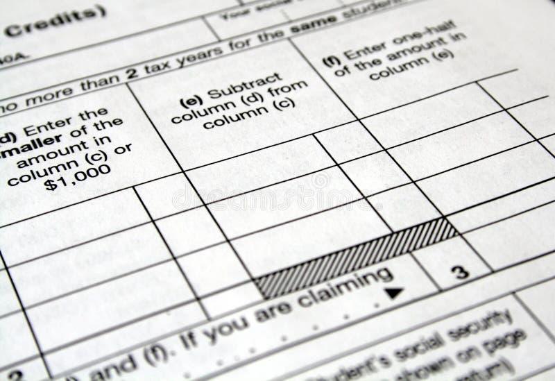 Φορολογικές μορφές στοκ εικόνες