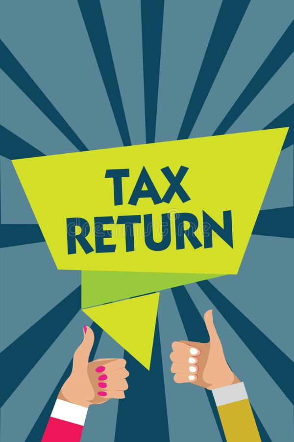 Φορολογική επιστροφή γραψίματος κειμένων γραφής Έννοια έννοιας που ο φορολογούμενος κάνει την ετήσια δήλωση των χεριών γυναικών α διανυσματική απεικόνιση