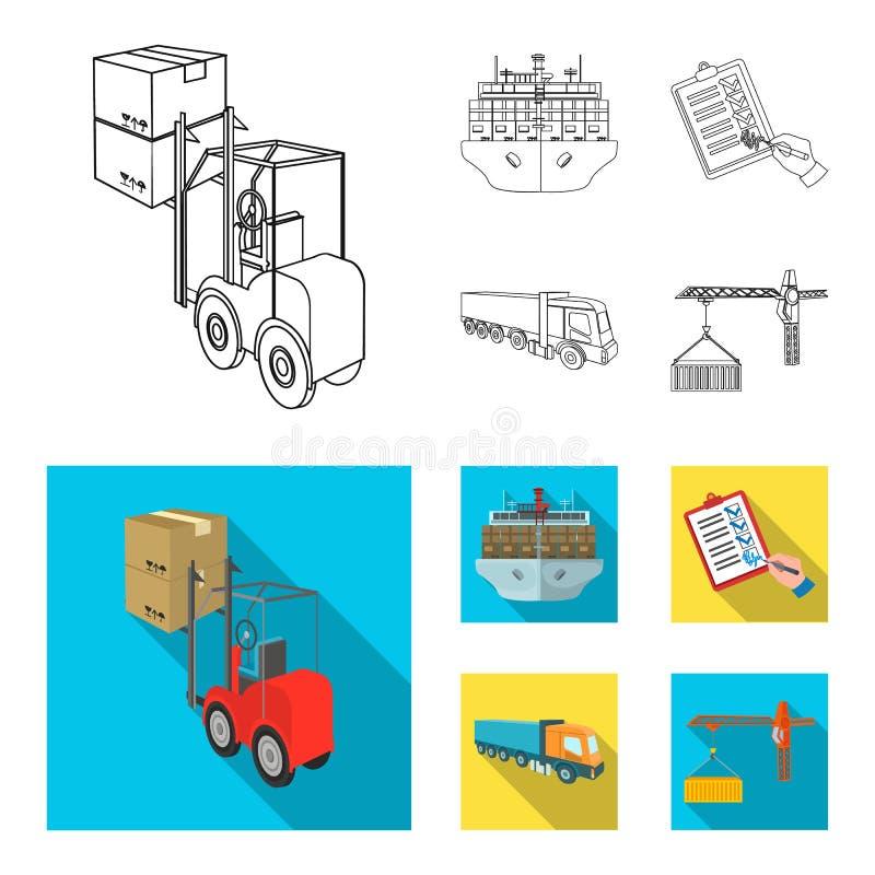 Φορτίο θάλασσας, υπογραφή των εγγράφων παράδοσης, φορτηγό, γερανός πύργων με ένα εμπορευματοκιβώτιο Καθορισμένη συλλογή διοικητικ ελεύθερη απεικόνιση δικαιώματος