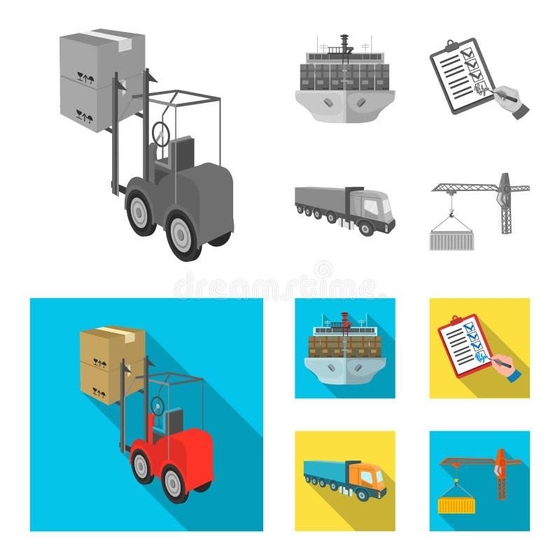 Φορτίο θάλασσας, υπογραφή των εγγράφων παράδοσης, φορτηγό, γερανός πύργων με ένα εμπορευματοκιβώτιο Καθορισμένη συλλογή διοικητικ διανυσματική απεικόνιση