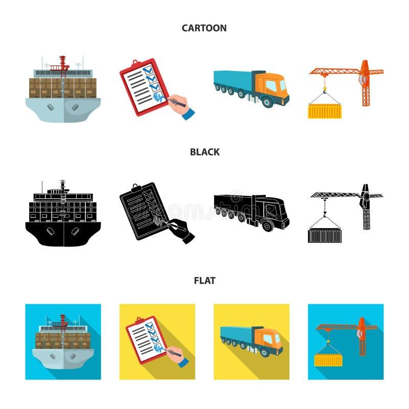 Φορτίο θάλασσας, υπογραφή των εγγράφων παράδοσης, φορτηγό, γερανός πύργων με ένα εμπορευματοκιβώτιο Καθορισμένη συλλογή διοικητικ απεικόνιση αποθεμάτων