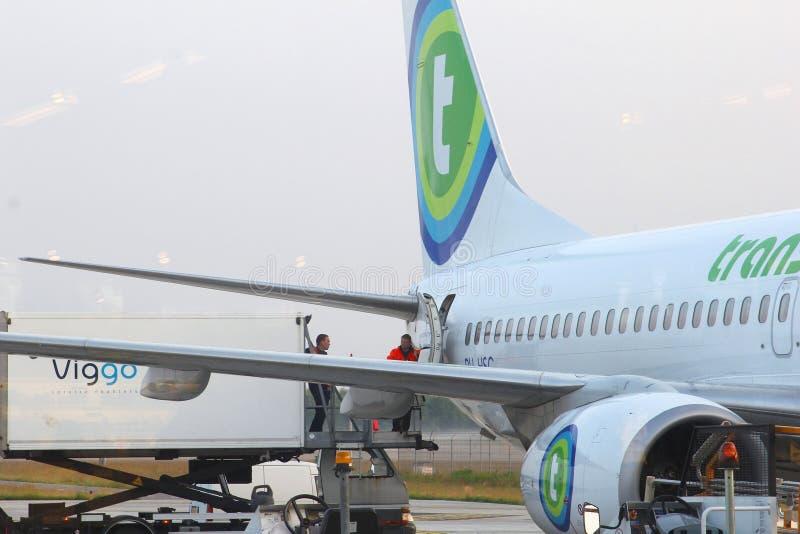 Φορτίο φόρτωσης στο Boeing 737 Transavia, Eindhov στοκ φωτογραφία με δικαίωμα ελεύθερης χρήσης