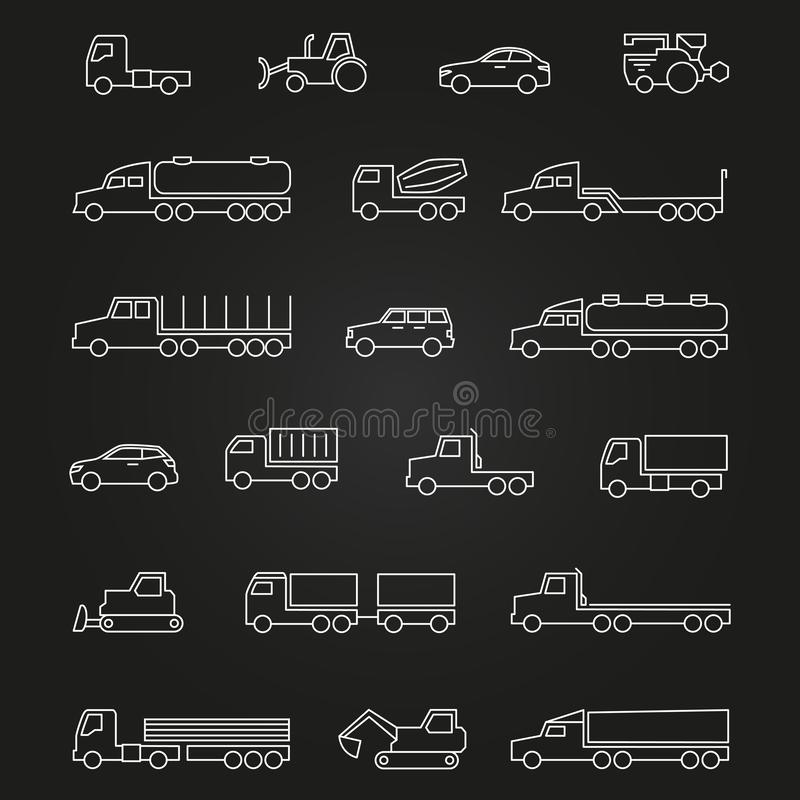 Φορτηγά, αυτοκίνητα, εικονίδια γραμμών μηχανών συνόλου διανυσματική απεικόνιση