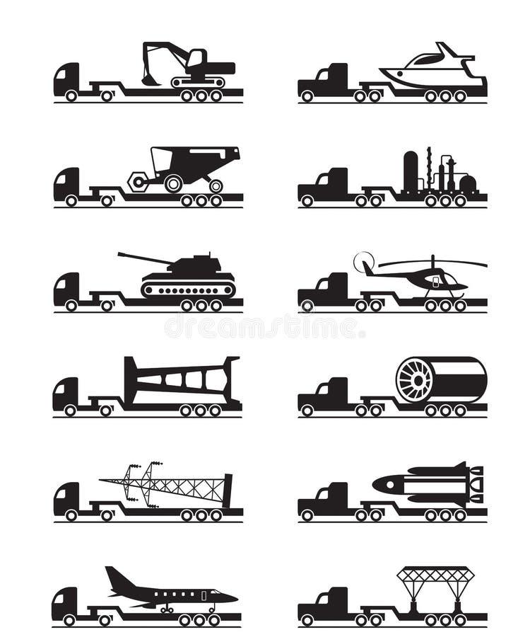 Φορτηγά με τα μεγάλου μεγέθους φορτία ελεύθερη απεικόνιση δικαιώματος