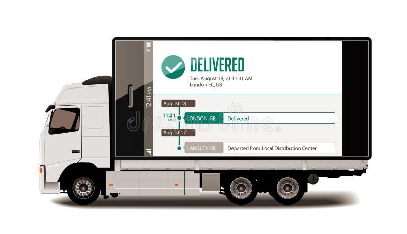 Φορτηγό - ακολουθώντας σύστημα - έννοια παράδοσης συσκευασιών ελεύθερη απεικόνιση δικαιώματος