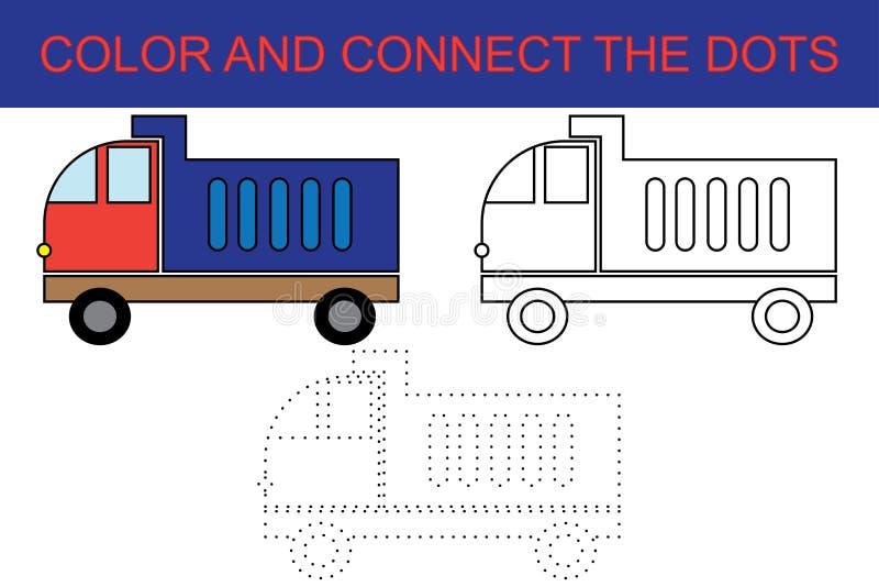 Φορτηγό απορρίψεων κινούμενων σχεδίων Σημείο για να διαστίξει το εκπαιδευτικό παιχνίδι εγγράφου για τα προσχολικά παιδιά Χρωματίζ διανυσματική απεικόνιση