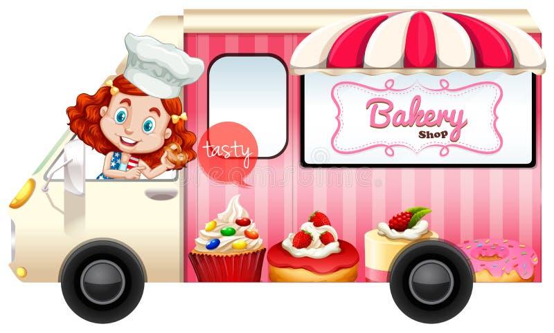 Φορτηγό αρτοποιείων με την οδήγηση αρτοποιών ελεύθερη απεικόνιση δικαιώματος