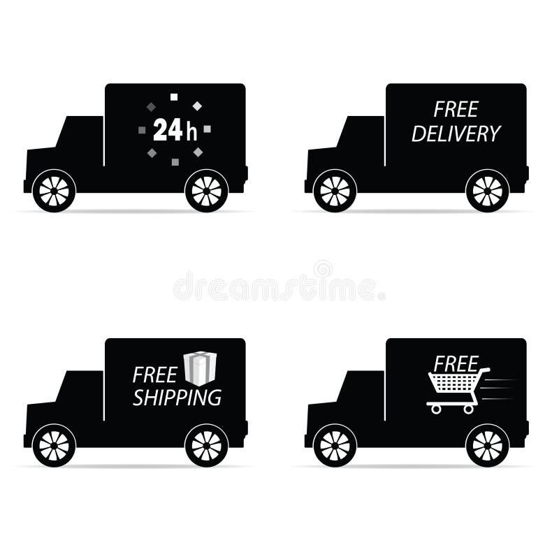 Φορτηγό εικονιδίων παράδοσης και στέλνοντας διανυσματική απεικόνιση ελεύθερη απεικόνιση δικαιώματος