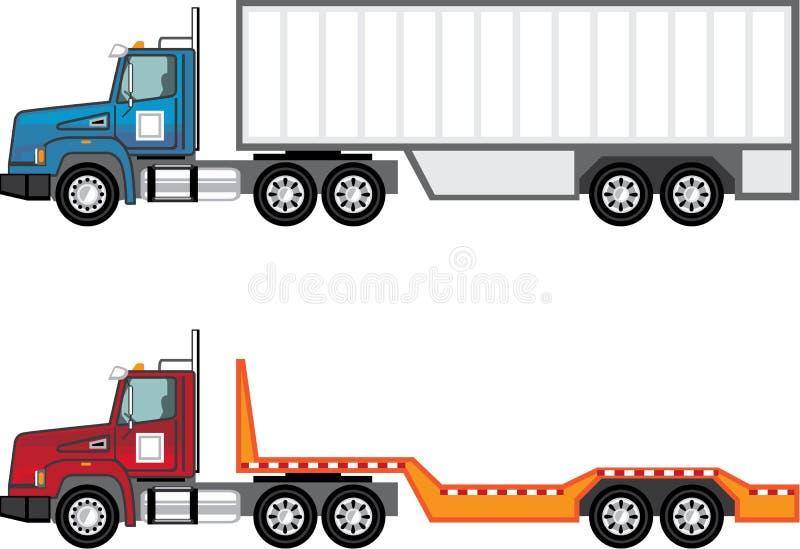 Φορτηγό ημι και επίπεδης βάσης ελεύθερη απεικόνιση δικαιώματος