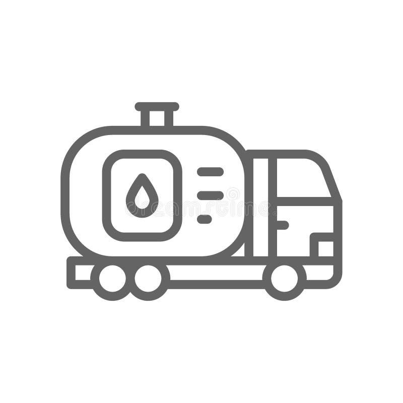 Φορτηγό καυσίμων, αυτοκίνητο με τη δεξαμενή πετρελαίου, μεταφορά νερού, εικονίδιο γραμμών μεταφορών ελεύθερη απεικόνιση δικαιώματος