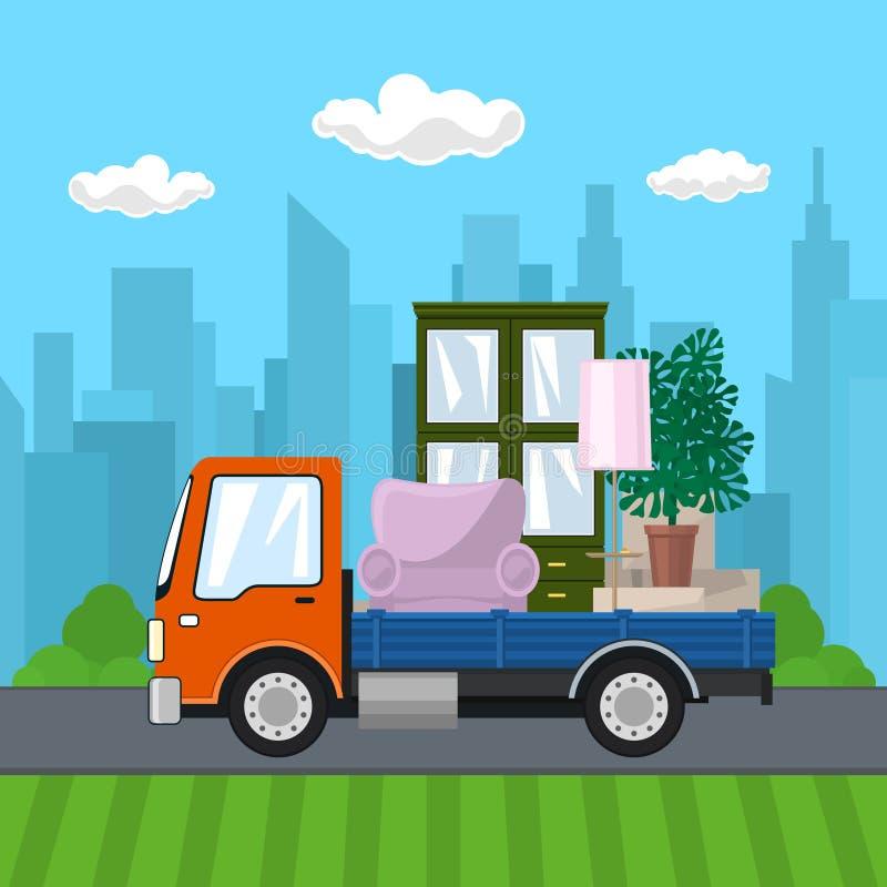 Φορτηγό με τα έπιπλα στο δρόμο απεικόνιση αποθεμάτων