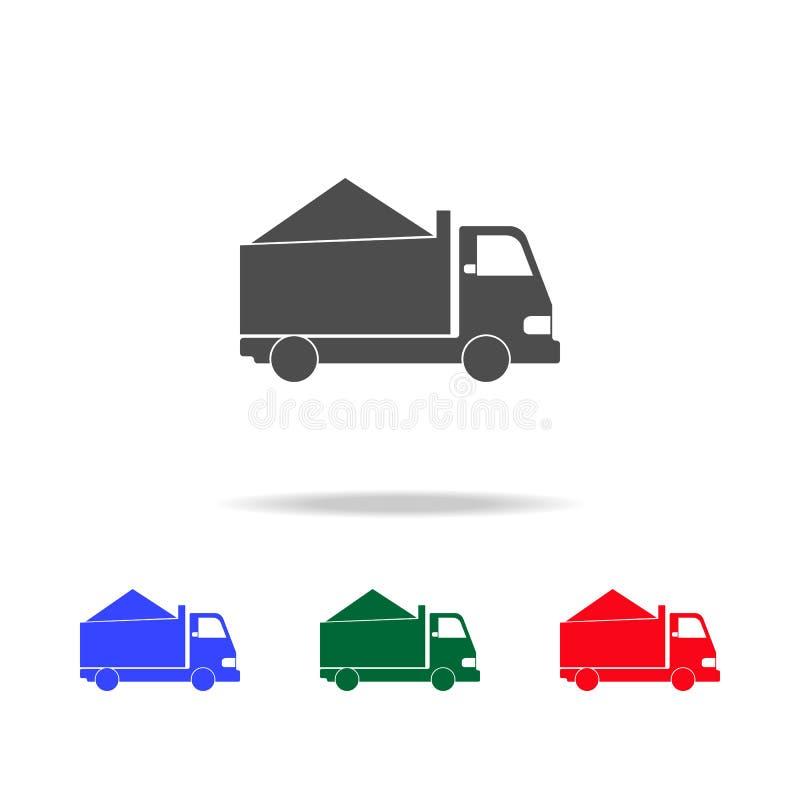 Φορτηγό με τα εικονίδια άμμου Στοιχεία του στοιχείου μεταφορών στα πολυ χρωματισμένα εικονίδια Γραφικό εικονίδιο σχεδίου εξαιρετι διανυσματική απεικόνιση