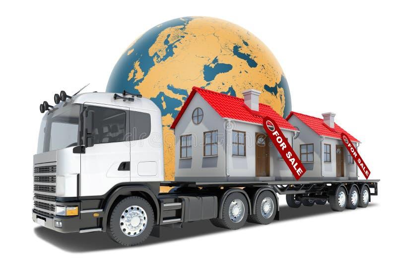 Φορτηγό με τα σπίτια για την πώληση ελεύθερη απεικόνιση δικαιώματος