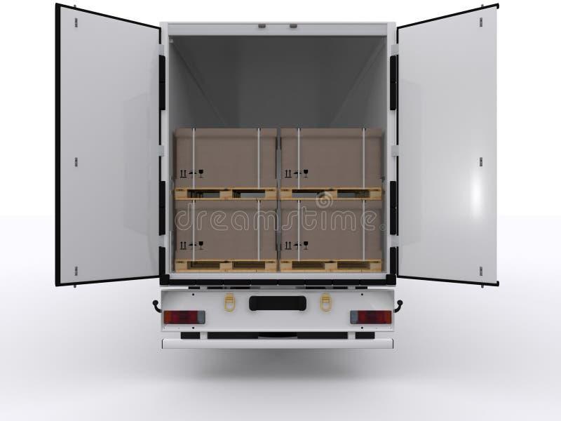 Φορτηγό με το ανοικτό ρυμουλκό στοκ εικόνα