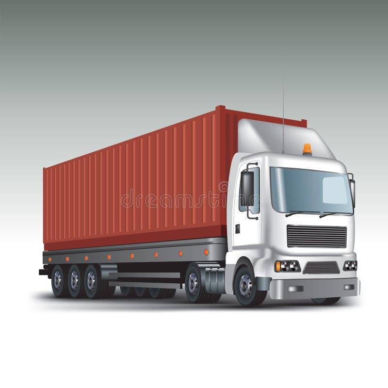 Φορτηγό με το εμπορευματοκιβώτιο φορτίου διανυσματική απεικόνιση