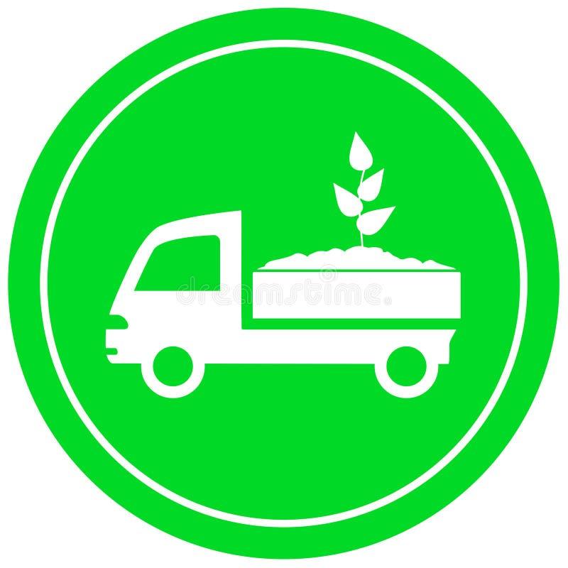 Φορτηγό με το χώμα και το νεαρό βλαστό απεικόνιση αποθεμάτων