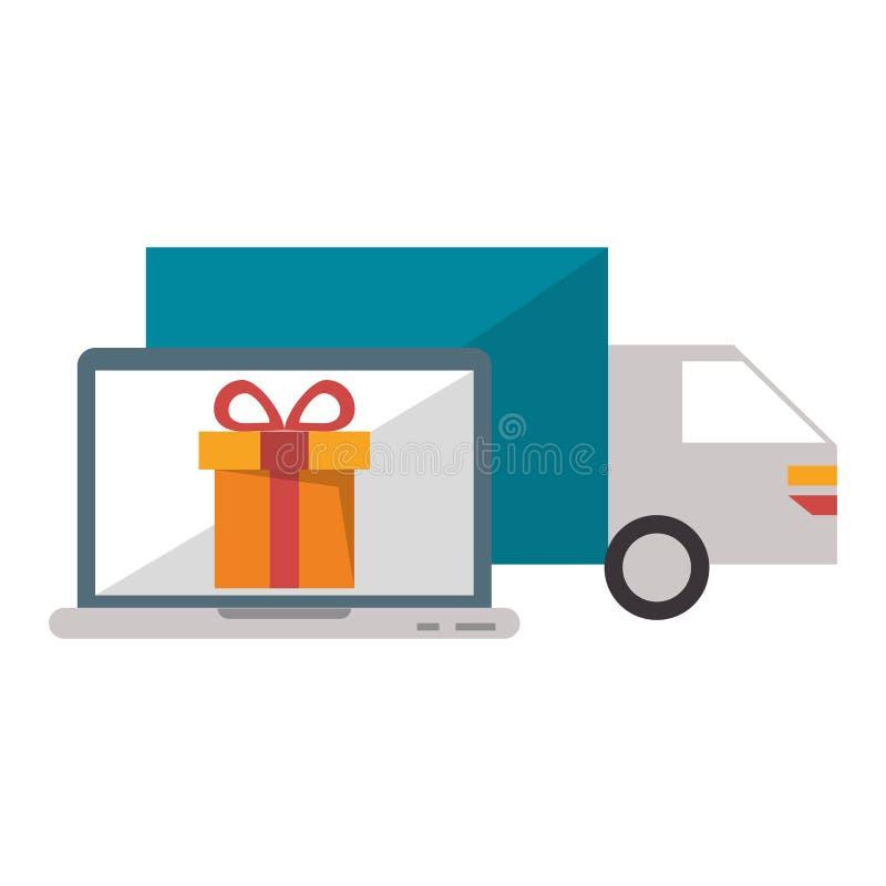 Φορτηγό παράδοσης με ένα lap-top και ένα δώρο ελεύθερη απεικόνιση δικαιώματος