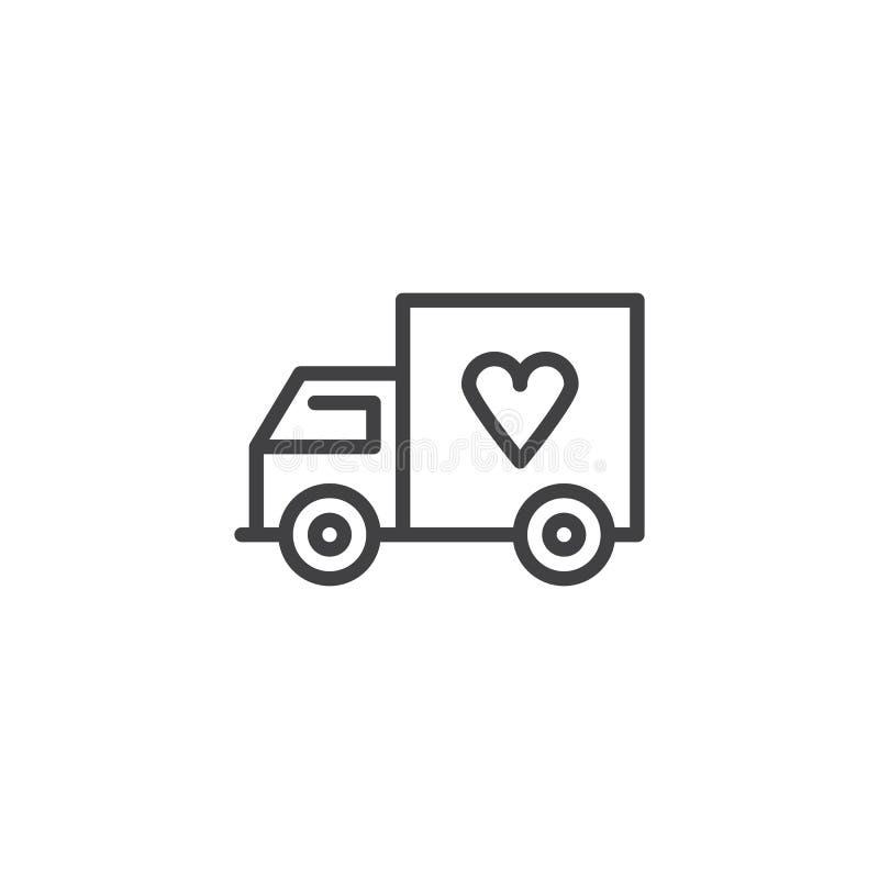Φορτηγό παράδοσης με το εικονίδιο περιλήψεων καρδιών απεικόνιση αποθεμάτων