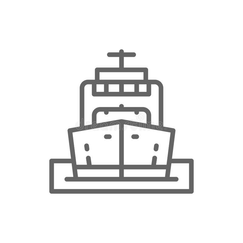 Φορτηγό πλοίο, βάρκα, μεταφορά πετρελαίου, ατμόπλοιο, εικονίδιο γραμμών κρουαζιέρας απεικόνιση αποθεμάτων
