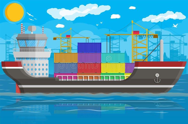 Φορτηγό πλοίο, γερανός εμπορευματοκιβωτίων Διοικητικές μέριμνες λιμένων απεικόνιση αποθεμάτων