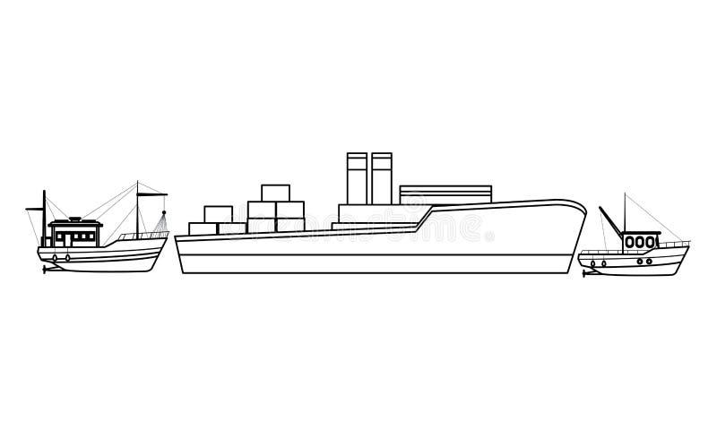 Φορτηγό πλοίο με τα κιβώτια εμπορευματοκιβωτίων και τις βάρκες ψαράδων γραπτά ελεύθερη απεικόνιση δικαιώματος