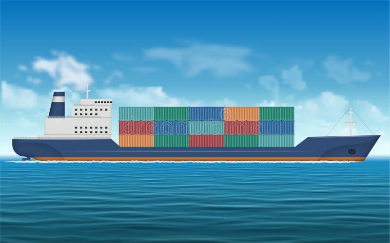 Φορτηγό πλοίο με το διανυσματικό υπόβαθρο εμπορευματοκιβωτίων ελεύθερη απεικόνιση δικαιώματος