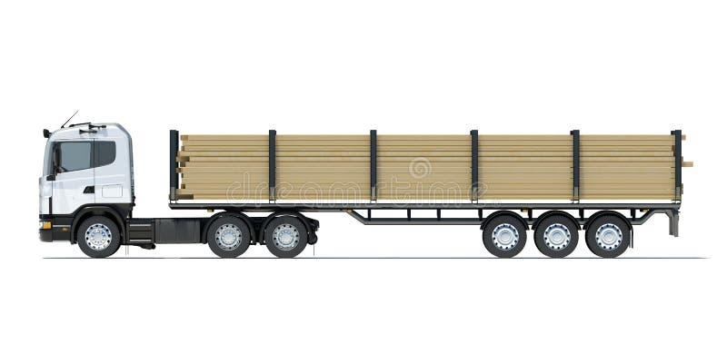 Φορτηγό που μεταφέρει την ξυλεία ελεύθερη απεικόνιση δικαιώματος