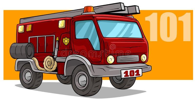 Φορτηγό πυροσβεστικών υπηρεσιών διάσωσης έκτακτης ανάγκης κινούμενων σχεδίων απεικόνιση αποθεμάτων