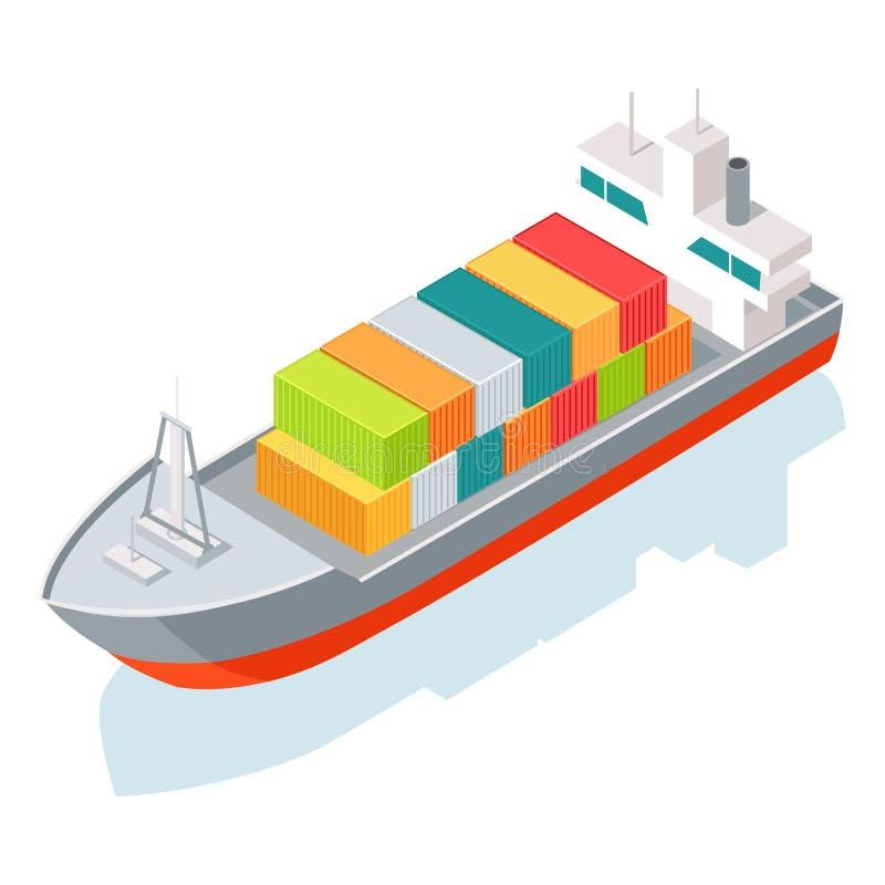 Φορτηγό πλοίο ή εμπορευματοκιβώτιο που απομονώνεται στο λευκό διάνυσμα ελεύθερη απεικόνιση δικαιώματος