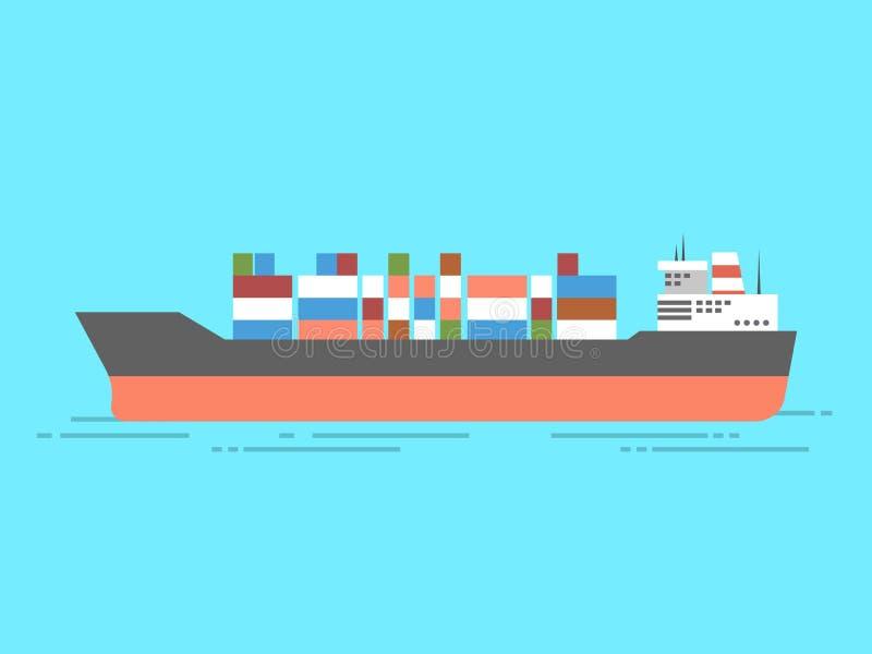 Φορτηγό πλοίο εμπορευματοκιβωτίων στο ωκεάνιο εικονίδιο διάνυσμα ελεύθερη απεικόνιση δικαιώματος
