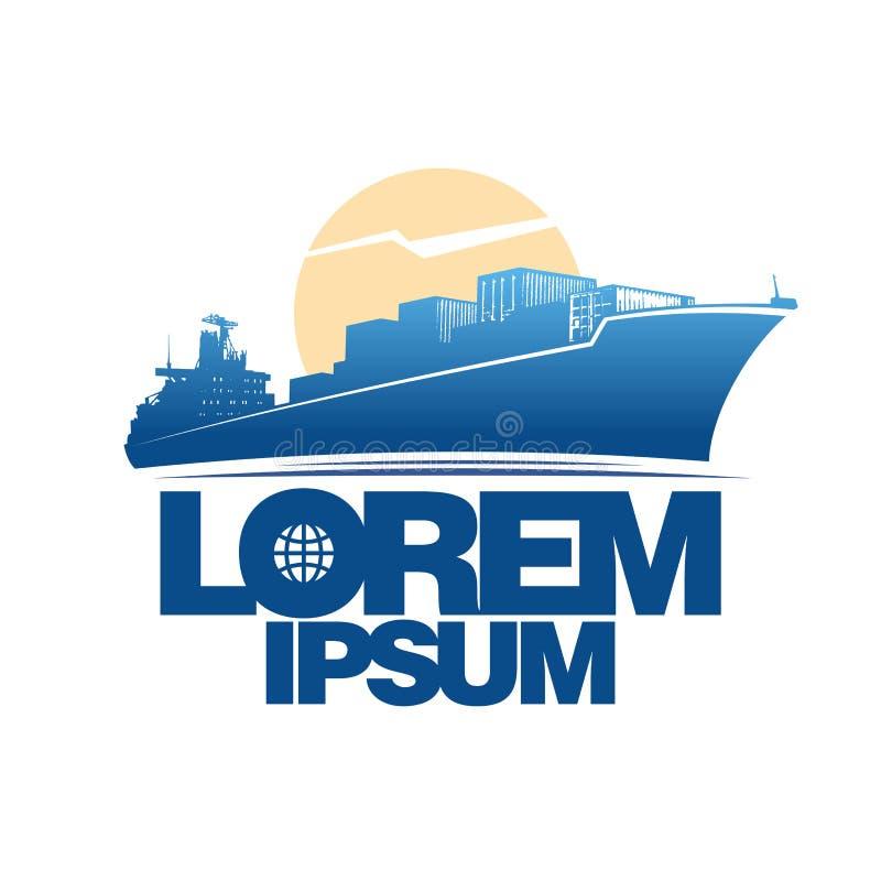 Φορτηγό πλοίο ενάντια στο λογότυπο ήλιων απεικόνιση αποθεμάτων