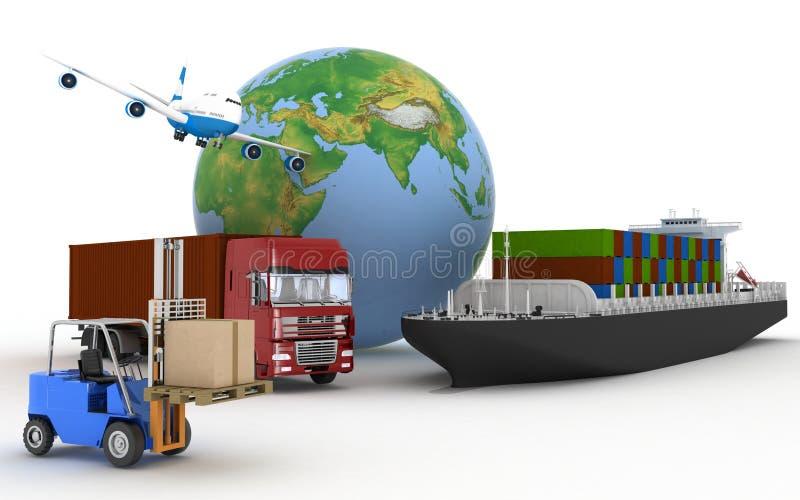 Φορτηγό πλοίο, φορτηγό, αεροπλάνο και φορτωτής με τα κιβώτια ελεύθερη απεικόνιση δικαιώματος
