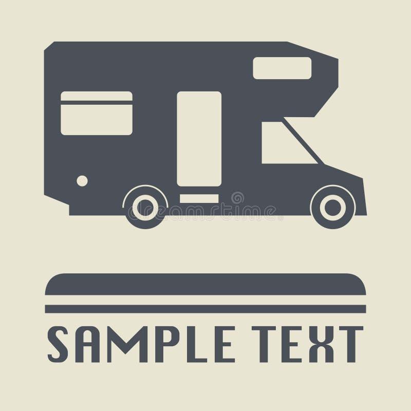 Φορτηγό στρατοπέδευσης ή εικονίδιο ή σημάδι αυτοκινήτων απεικόνιση αποθεμάτων