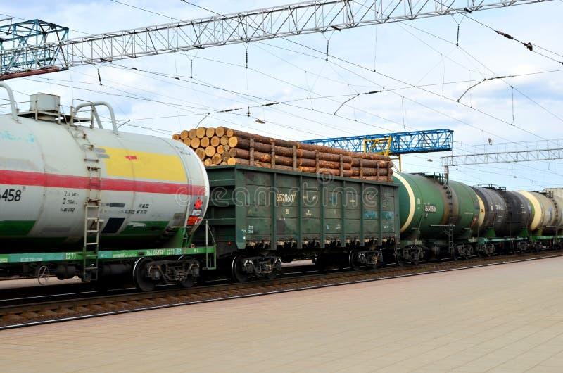 Φορτηγό τρένο, μεταφορά των βαγονιών εμπορευμάτων με ξύλινο LNG αυτοκινήτων andtank κοντά, φυσικό αέριο, αργό πετρέλαιο και αιθαν στοκ εικόνα