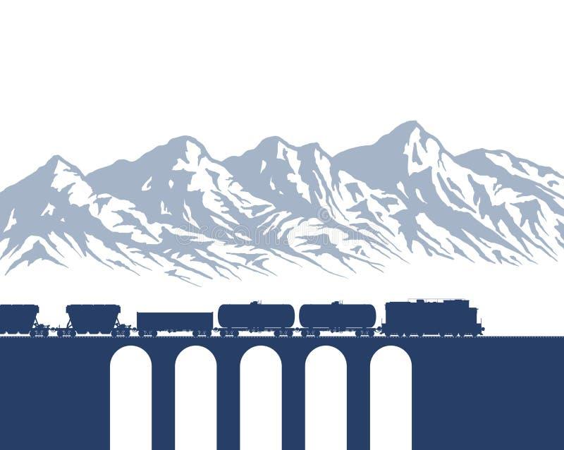 Φορτηγό τρένο πέρα από τα βουνά ελεύθερη απεικόνιση δικαιώματος