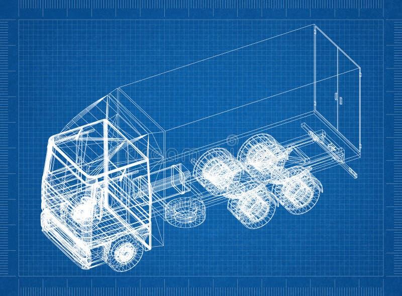 Φορτηγό τρισδιάστατη προοπτική σχεδιαγραμμάτων †« απεικόνιση αποθεμάτων