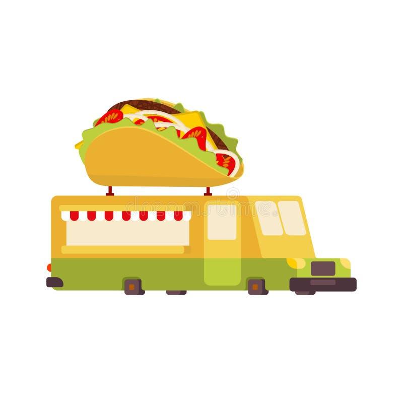 Φορτηγό τροφίμων αυτοκινήτων Tacos Αυτοκίνητο γρήγορου φαγητού επίσης corel σύρετε το διάνυσμα απεικόνισης απεικόνιση αποθεμάτων